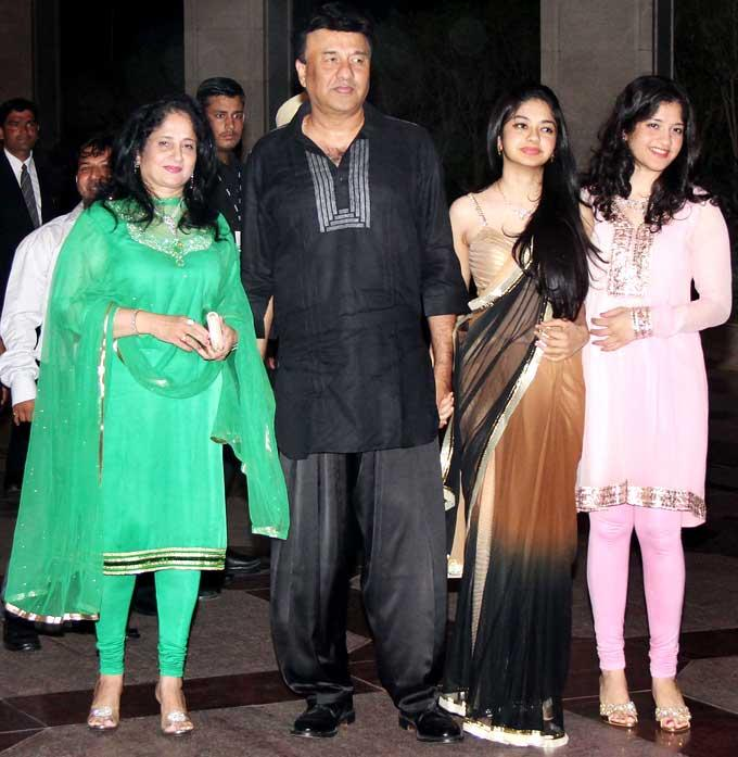 Anu Malik with wife Anju and Daughters Ada and Anmol at Esha Deol Sangeet Ceremony