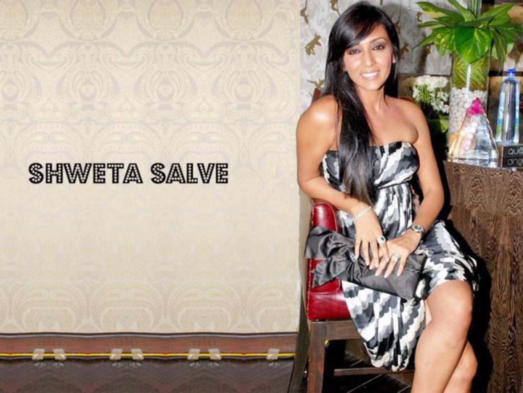 Shweta Salve Strapless Dress Sitting Pose Photo Shoot