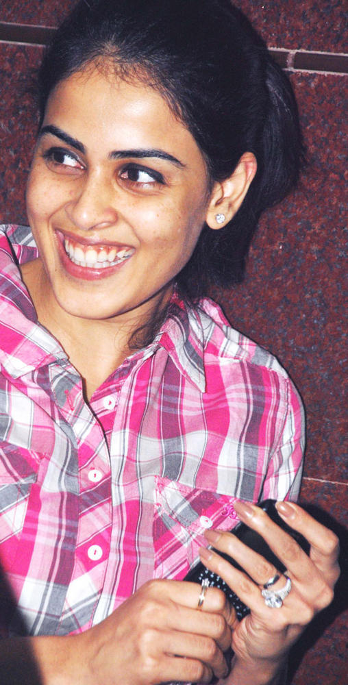 Genelia D'Souza Smiling Pic at Special Screening of Bol Bachchan