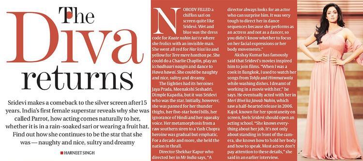 Returns Diva Sridevi on Eye Magazine Cover Page
