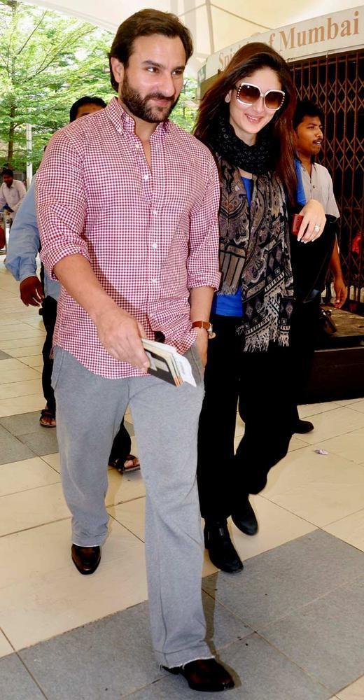 Saif With Kareena At Mumbai Airport Return From London
