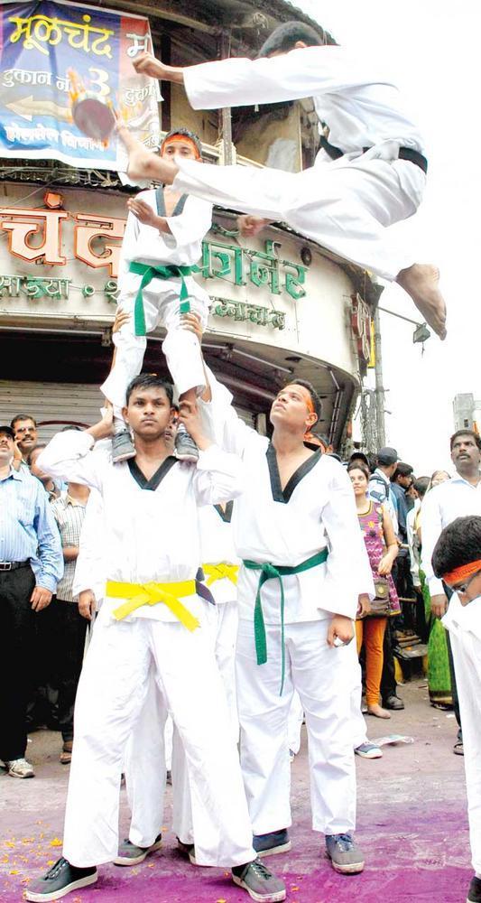 Martial Arts School Students Performed Acrobatic Stunts