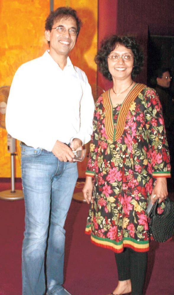 Harsha And Anita Bhogle Snapped At SoBo Theatre Venue