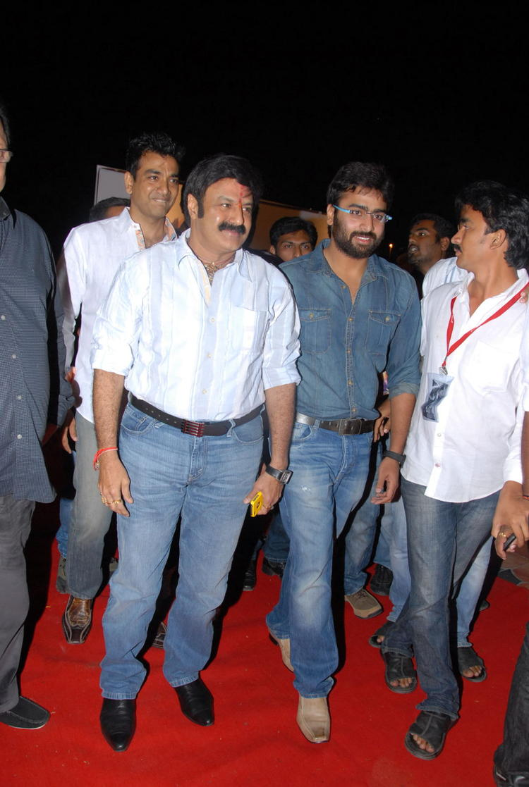 Nara And Balakrishna At Red Carpet In The Audio Release Function Of Okkadine