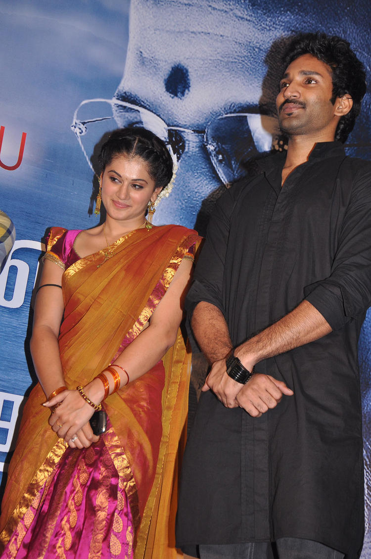 Aadhi And Tapsee Posed At Maranthen Mannithen Movie Audio Launch