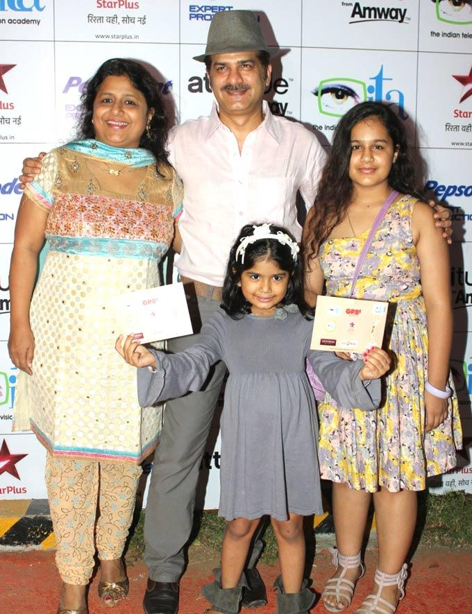 Jamnadas Majethia With His Family At The 12th Indian Television Academy Awards