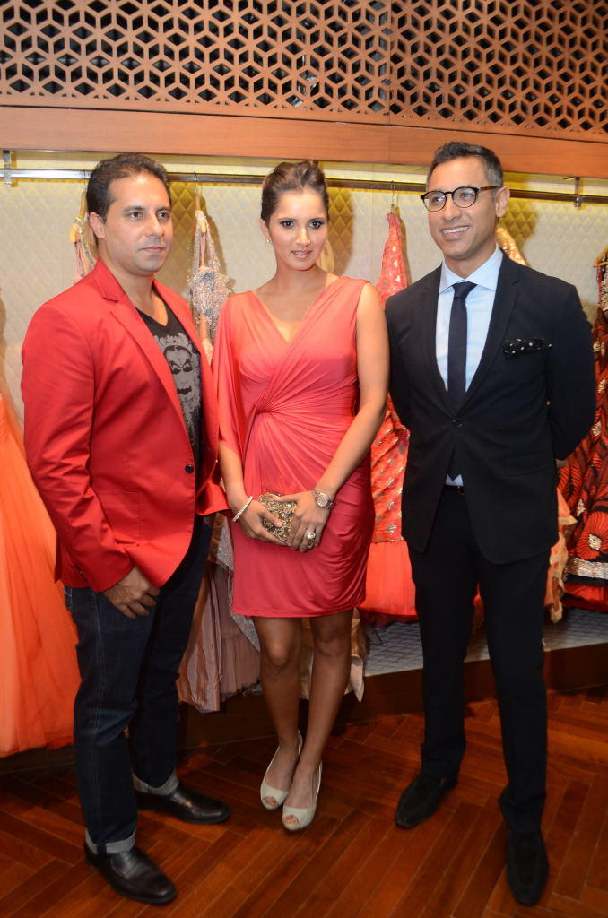 Sania,Shantanu And Nikhil Posed During The Store Launch Of Designer Shantanu And Nikhil