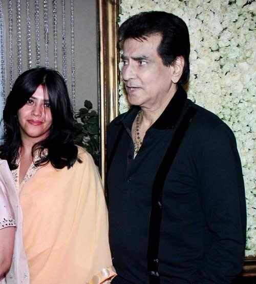 Ekta With Her Dad Jeetendra At Kiran Bawa's Diwali Bash