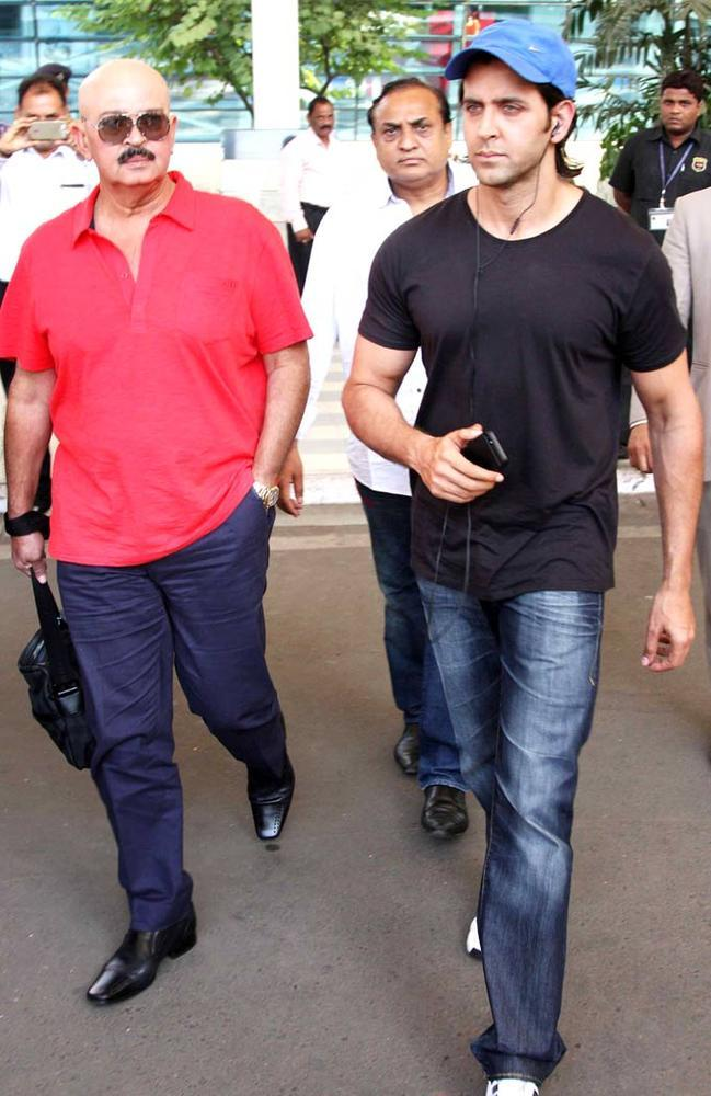 Rakesh With Son Hrithik Spotted At Airport