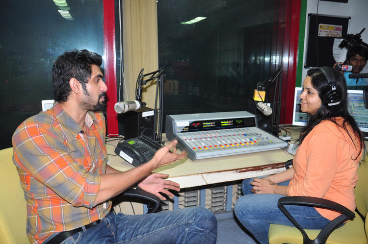 Rana Daggubati Side Face Look Still At Radio Mirchi For Promotes KVJ