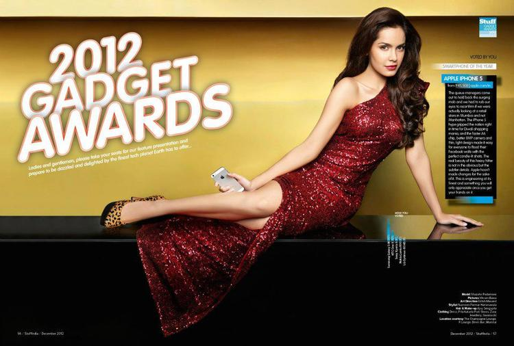Shazahn Sexy Legs Show Still In A Gown For Stuff India December 2012