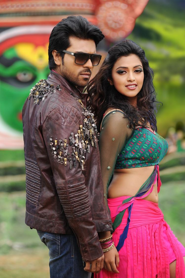 Ram Charan And Amala Nice Pose Still From Nayak Movie