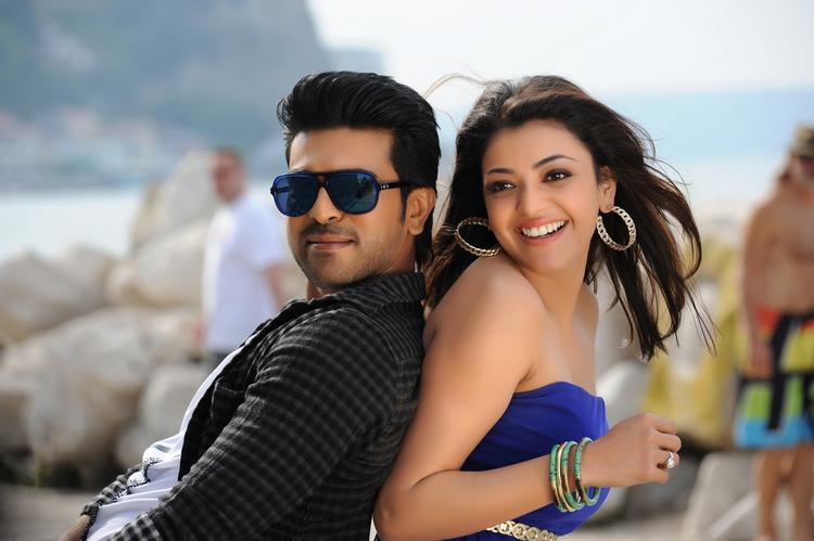 Ram Charan And Kajal Cool Still From Nayak Movie