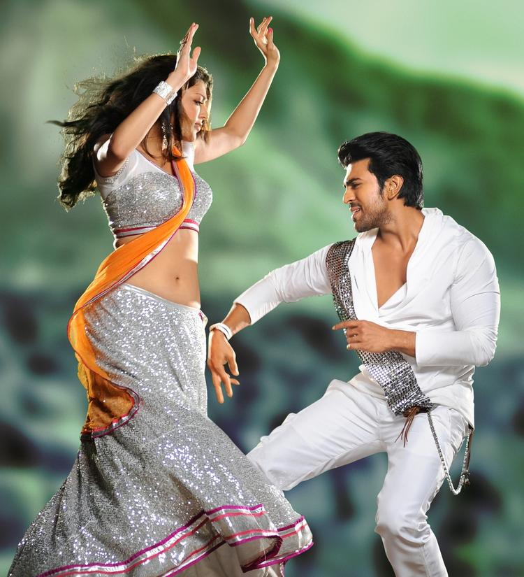 Ram Charan And Kajal Sexy Look Dancing From Nayak Movie