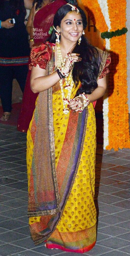 Vidya Balan Looks Fabulous In Saree At Her Mehendi Ceremony