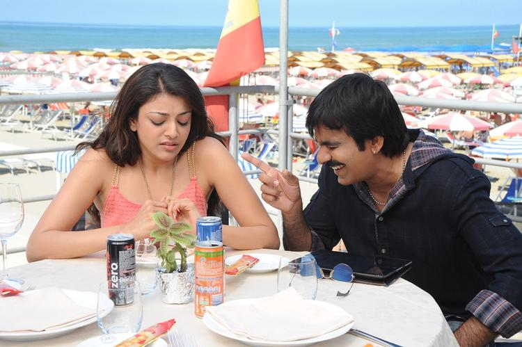 Ravi And Kajal A Still From Sarocharu Movie