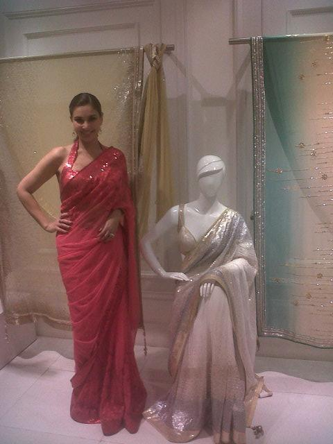 Lisa Ray Gorgeous Look Photo At The Auction Of Satya Paul Saree