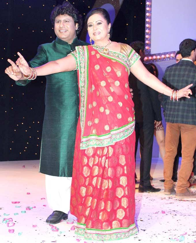 Neelu with hubby Arvind A Dance Pose At The Launch Nach Baliye
