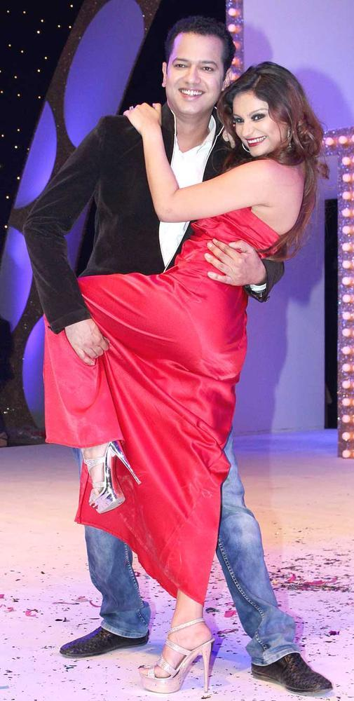 Rahul And Dimpy Dance Step Pose For Camera At The Launch Of Nach Baliye Season 5