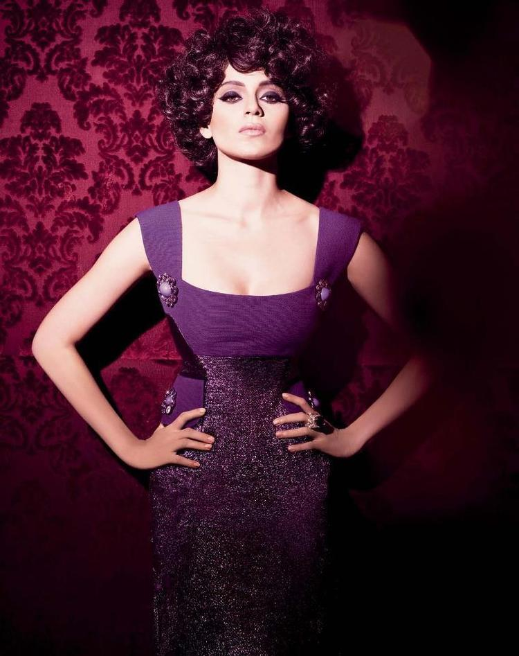 Kangana Cleavage Show Photo Shoot In Violate Color Dress
