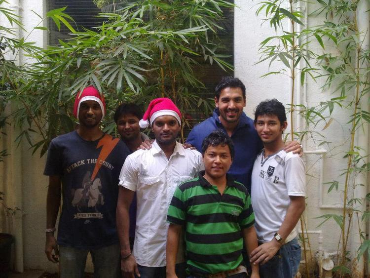 John Abraham With Some Fans Snapped At Christmas Celebration Eve