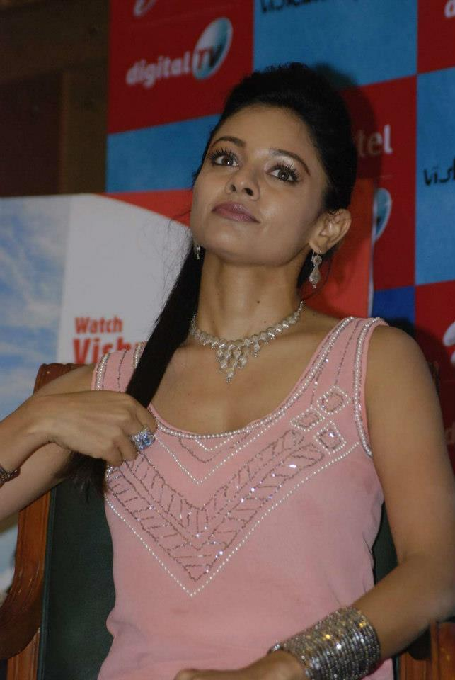 Pooja Attend Vishwaroopam Airtel DTH Launch Event Wearing A Pink Ensable