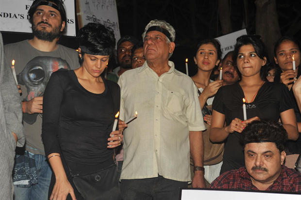 Mandira,Om Puri And Goldie Snapped At Candle Light Rally