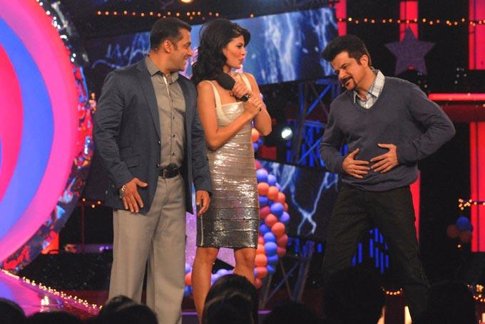 Salman,Anil And Jacqueline On The Sets Of Bigg Boss 6 To Promote Race 2
