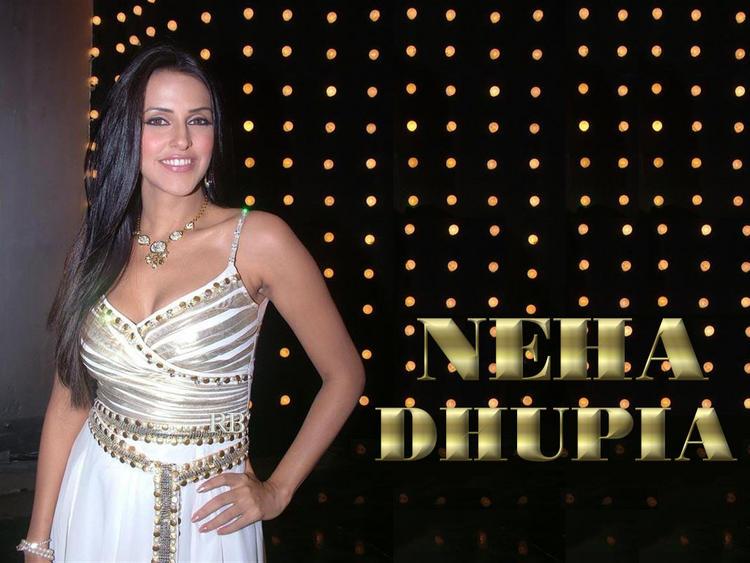 Neha Dhupia White Dress Glamour Wallpaper