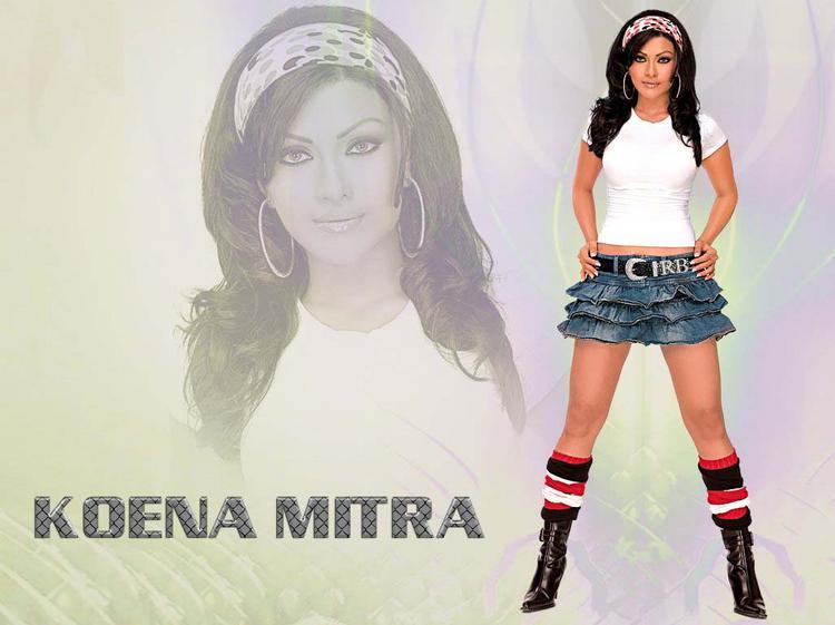 Koena Mitra Mini Skirt Cute Wallpaper