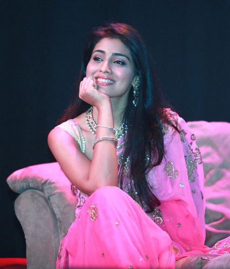 Shriya Saran Pink Gorgeous Saree Cute Photo