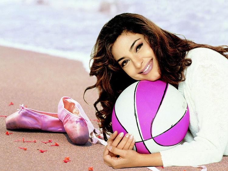 Juhi Chawla With Ball On Beach