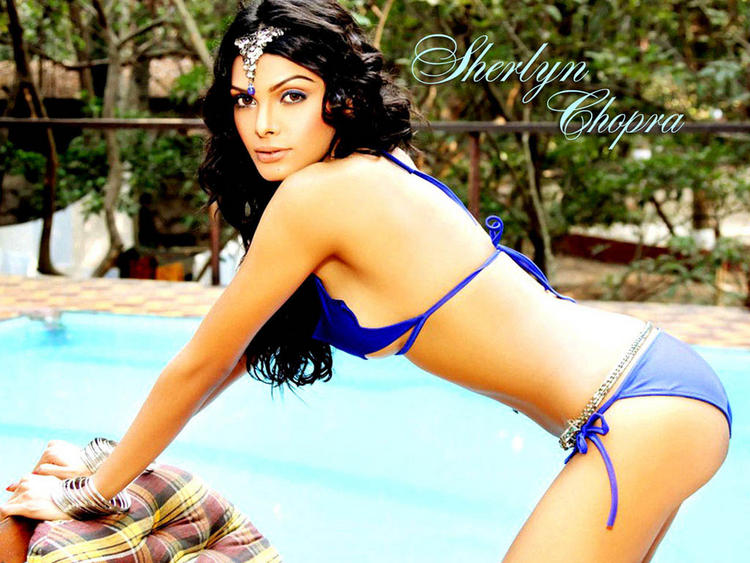 Mona Chopra In Blue Bikini Hot Wallpaper
