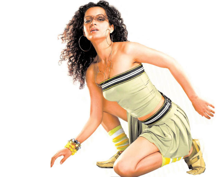 Kangana Ranaut Sexy Pose In Mini Skirt