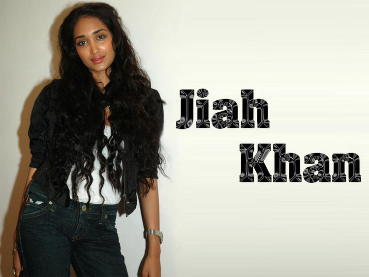 Jiah Khan Long Curly Hair Style Wallpaper