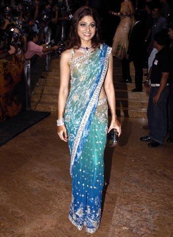 Shamita Shetty In Gorgeous Saree at The Reception Of Shilpa