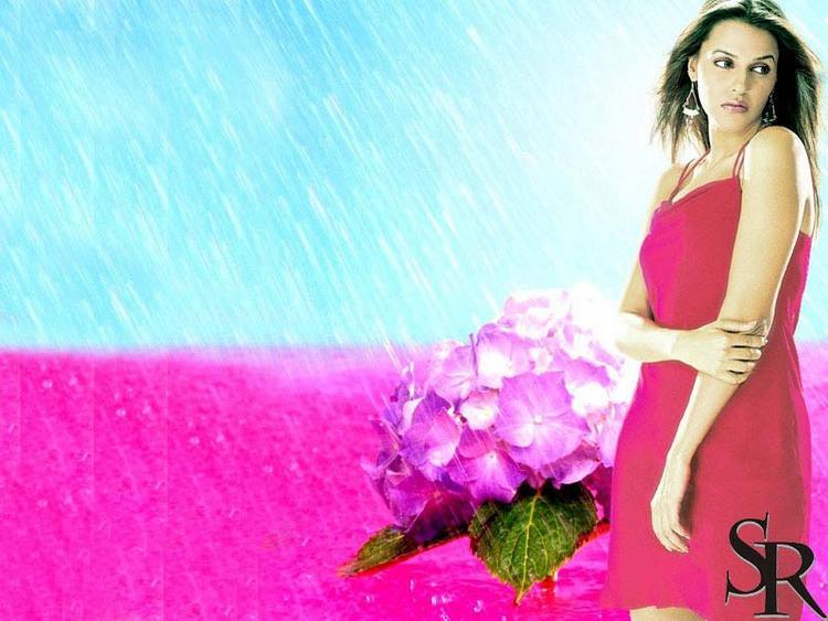 Neha Dhupia Red Dress Wallpaper