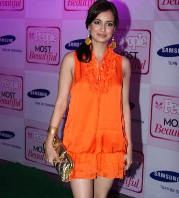 Diya Mirza in Orange Color Mini Skirt