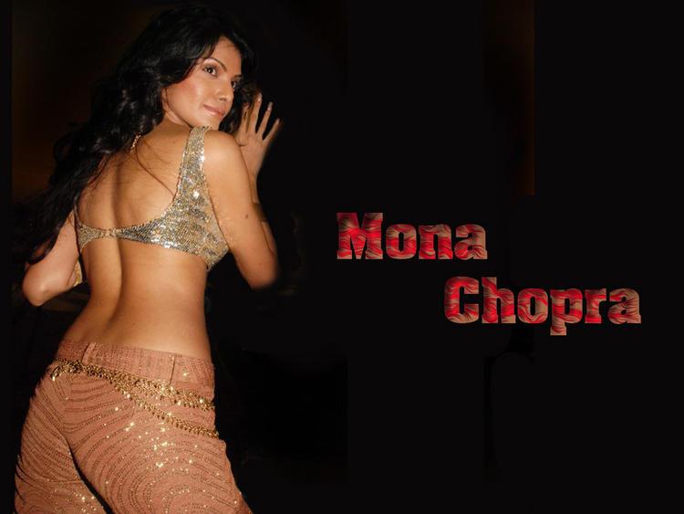 Mona Chopra Sexy Glamour Back Exposing Wallpaper