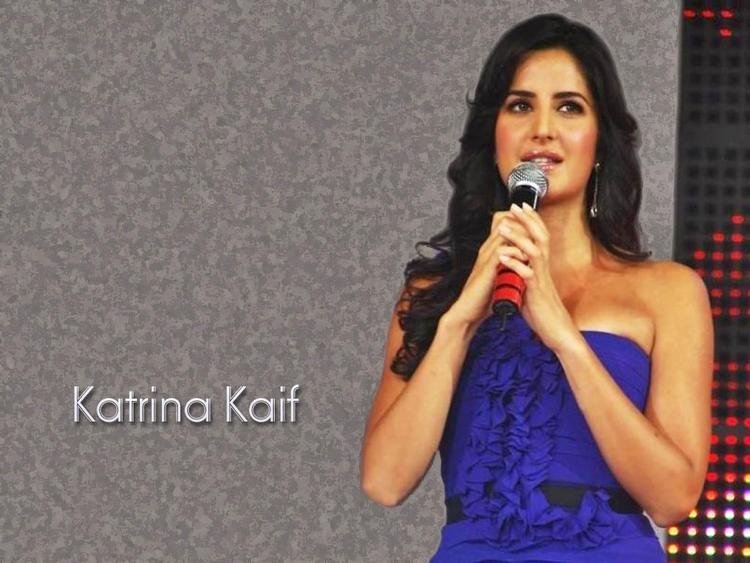 Katrina Kaif Blue Dress Glamour Wallpaper