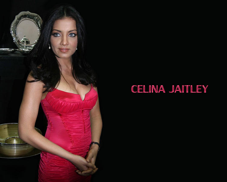 Celina Jaitley Deep Cleavages Wallpaper In Red Dress