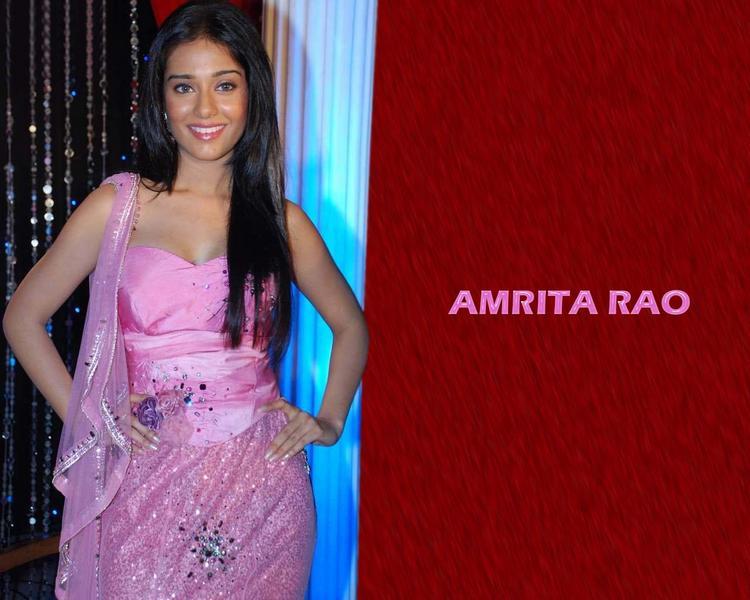 Amrita Rao Pink Dress Wallpaper