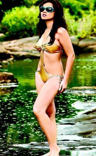 Priyanka Kothari Wearing Golden Bikini Sexy Wallpaper