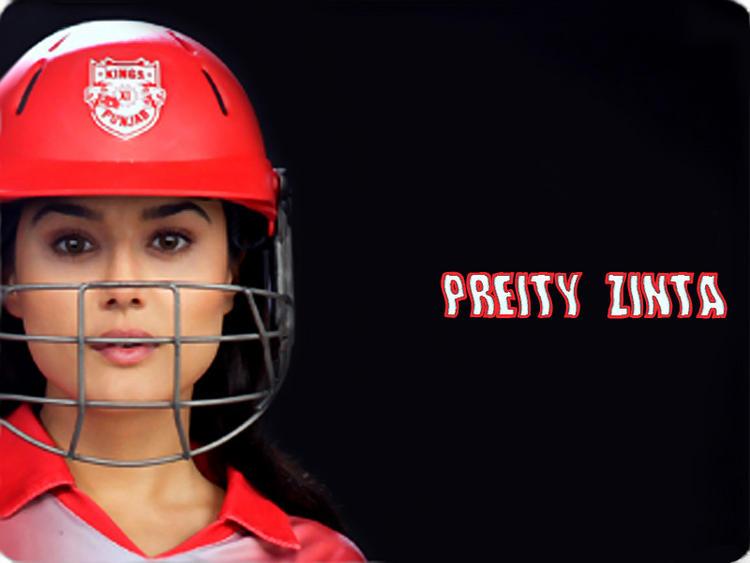 Preity Zinta Wearing King XII Punjab Helmet Wallpaper