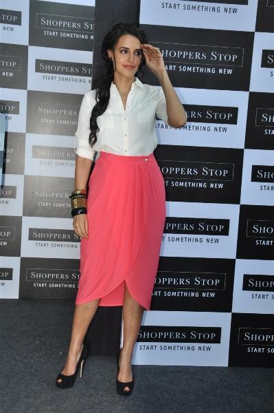 Neha Dhupia Looks Sexy In White Shirt and Pink Skirt