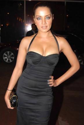 Celina Jaitley Hot in Black Dress Showing Her Boobs