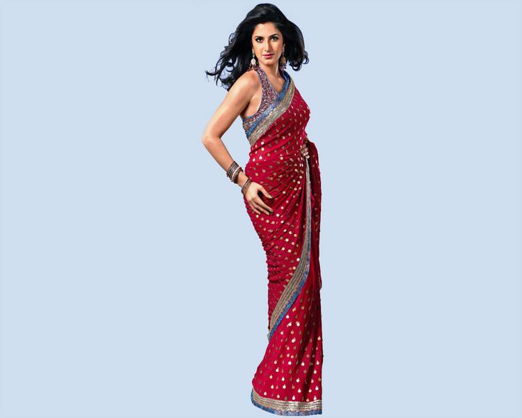 Katrina Kaif Looking Hot Sizzles In Red Saree