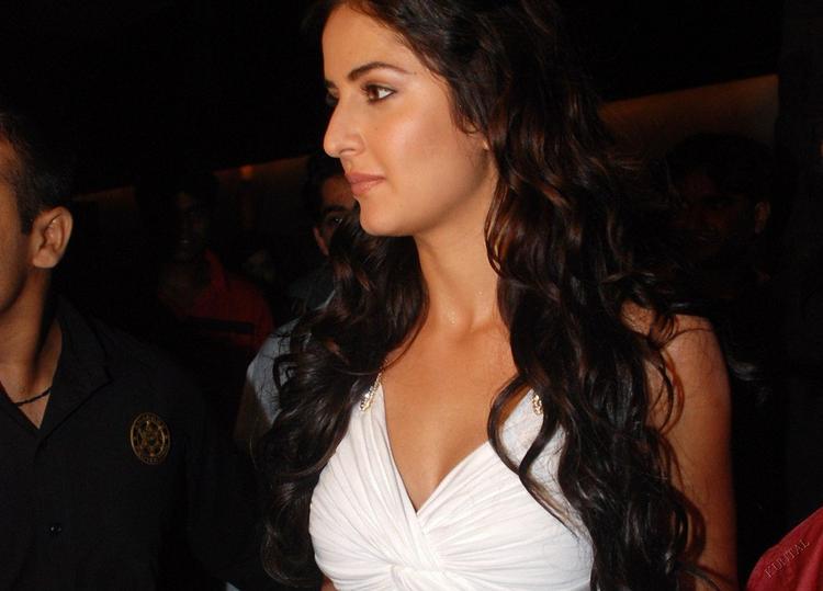 Katrina Kaif Nice Photo In White Dress and Curly Hair