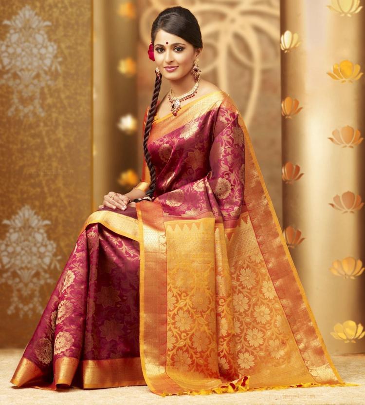 Gorgeous Anushka Shetty in Chennai Silks Ad Still