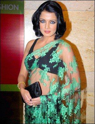Celina Jaitley In Green Net Saree Hot Pic